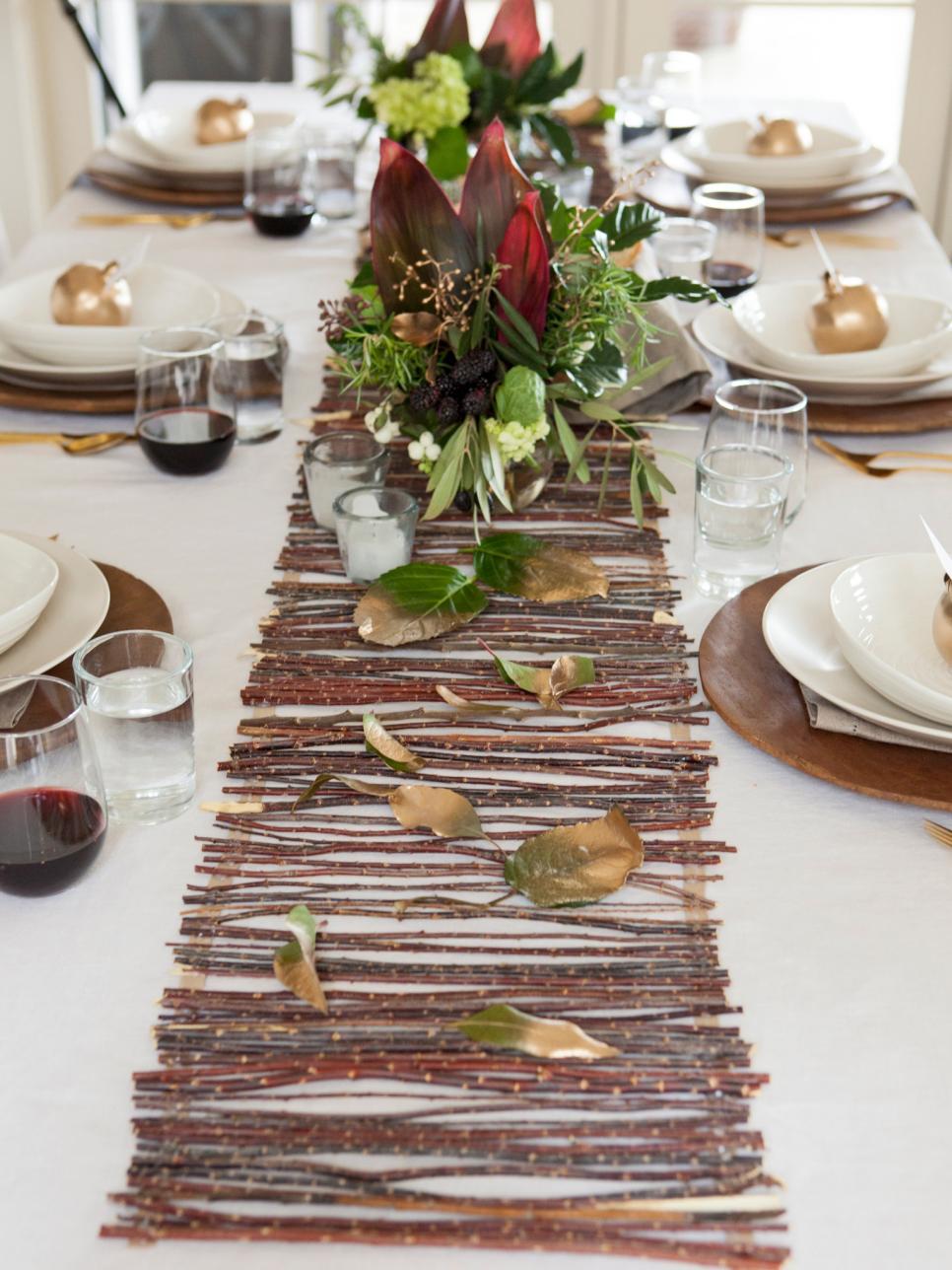 centro mesa ideas ramas arbol colocadas hojas original