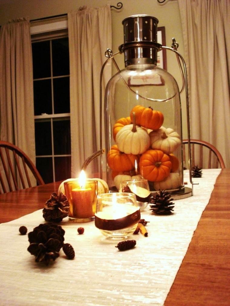centro mesa ideas romantico farol lleno calabazas originales