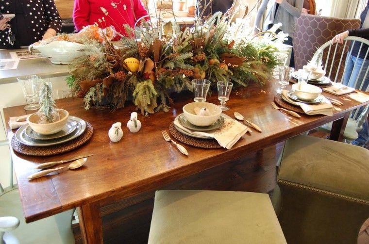 centro mesa madera flores plantas