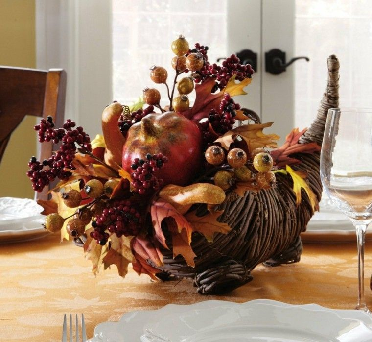 centro mesa otoño hojas secas