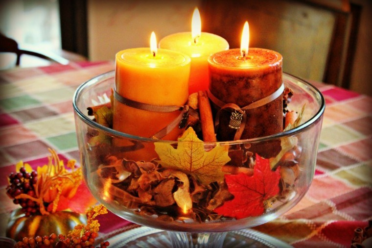 centro mesa velas hojas