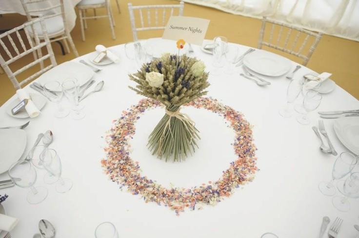 centro mesa espigas cereales verdes