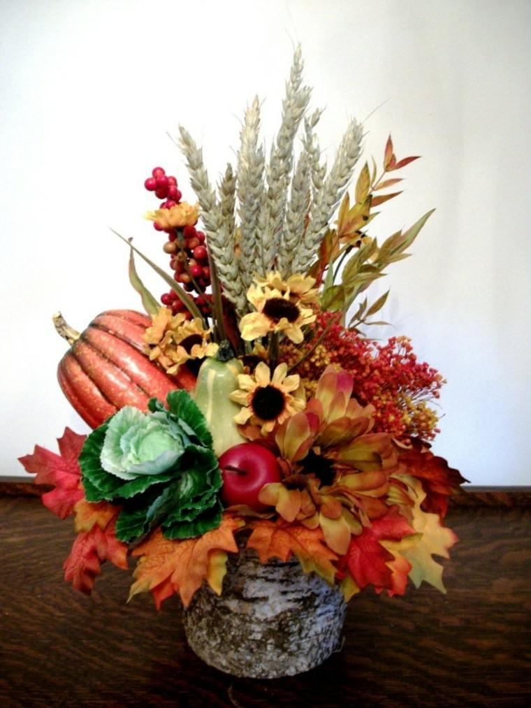 centro mesa flores hojas secas