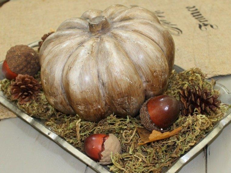 centro mesa otoño calabaza bellota