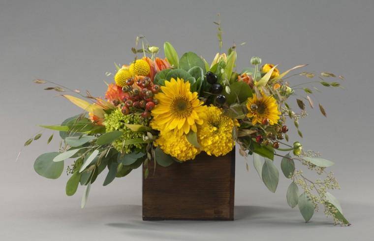 centro mesa otoño flores amarillas