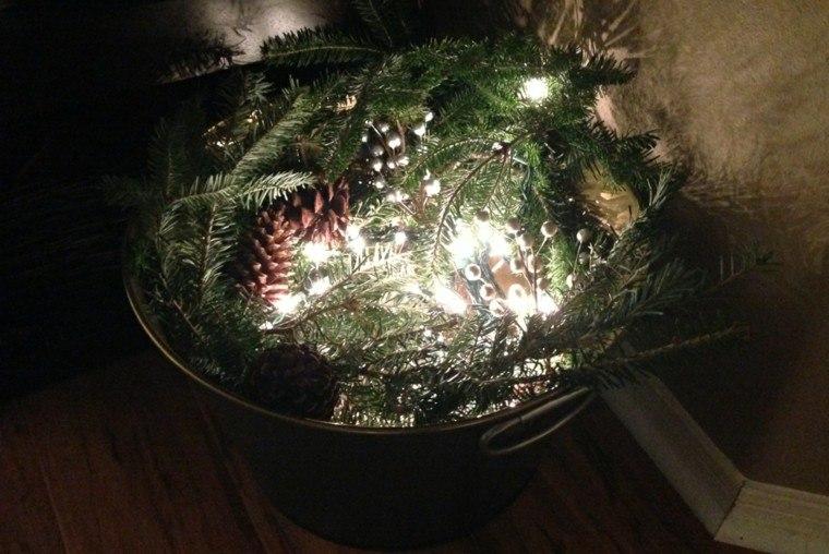 centro vasija plantas luces conos