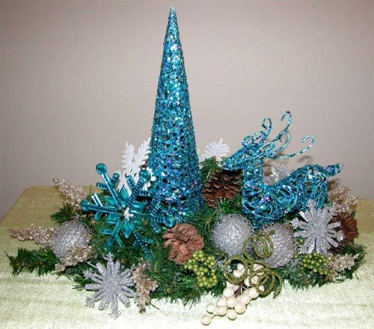 centro mesa adornos azules purpurina