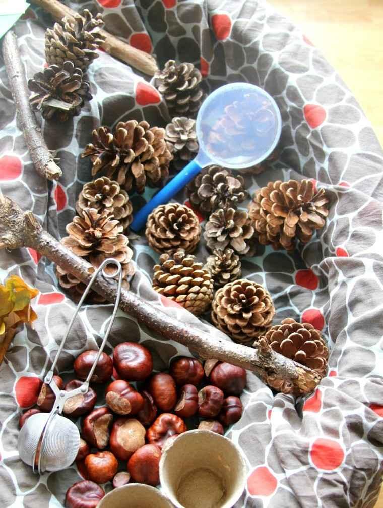 centros de mesa originales ideas castanas pinas ramas otono