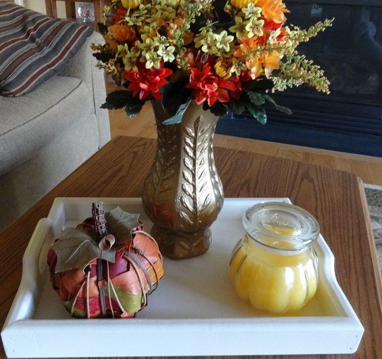 centros de mesa originales ideas flores manzana hojas secas interesante