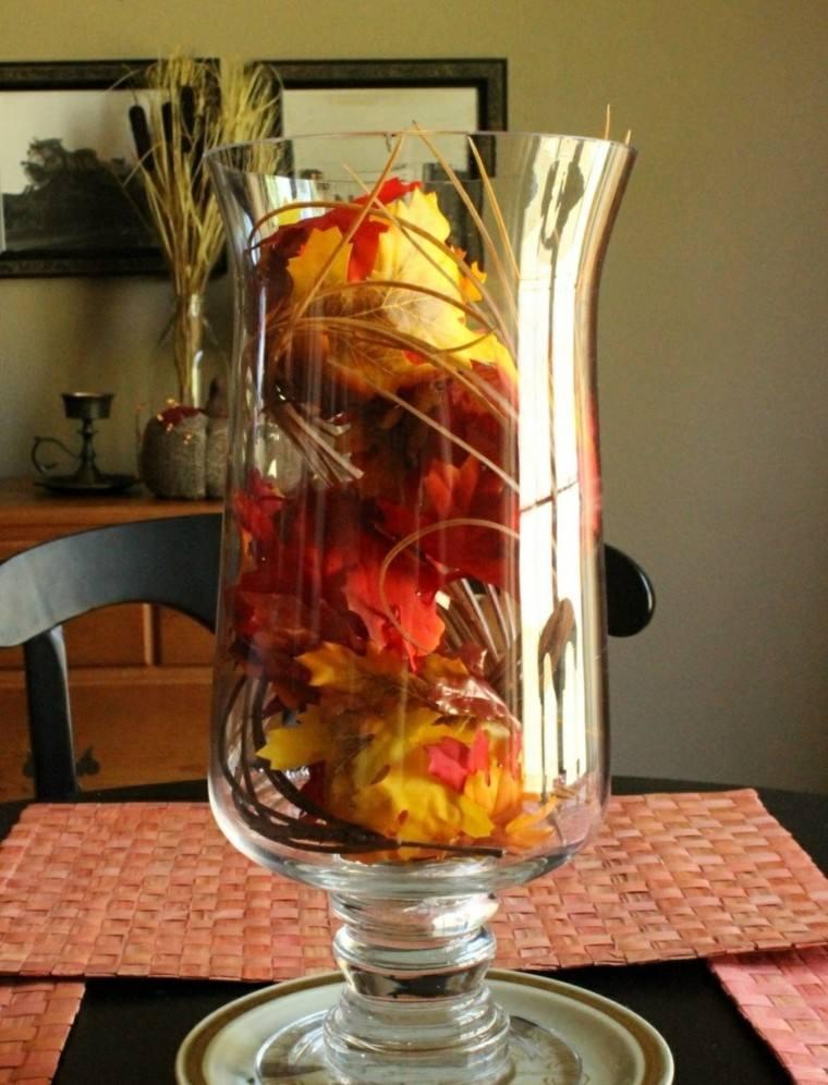 centros de mesa originales ideas jarron cristal hojas casa