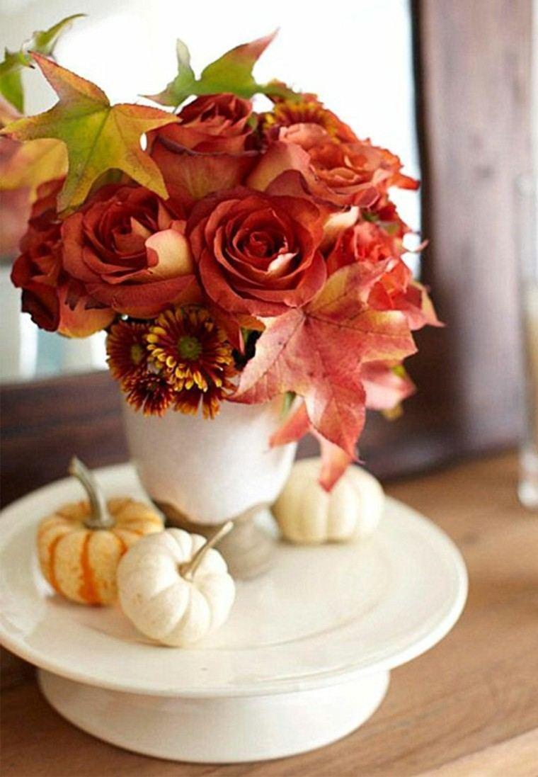 centros de mesa originales ideas jarron porcelana blanca calabazas plato