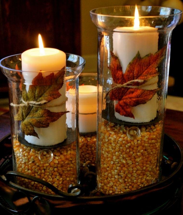 centros de mesa originales ideas maiz velas hojas