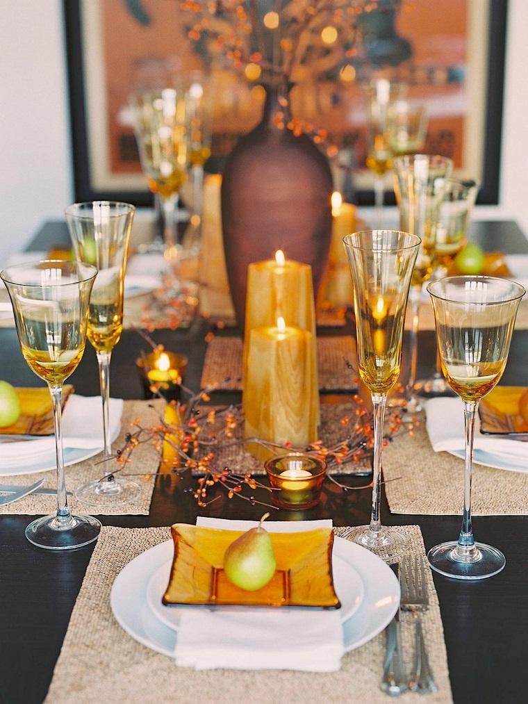 centros de mesa originales ideas velas amarillas perras otoño
