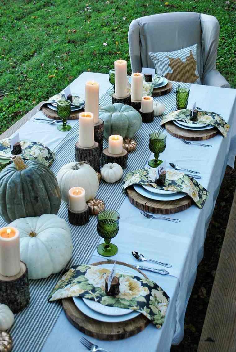 centros de mesa originales ideas velas madera calabazas otoño