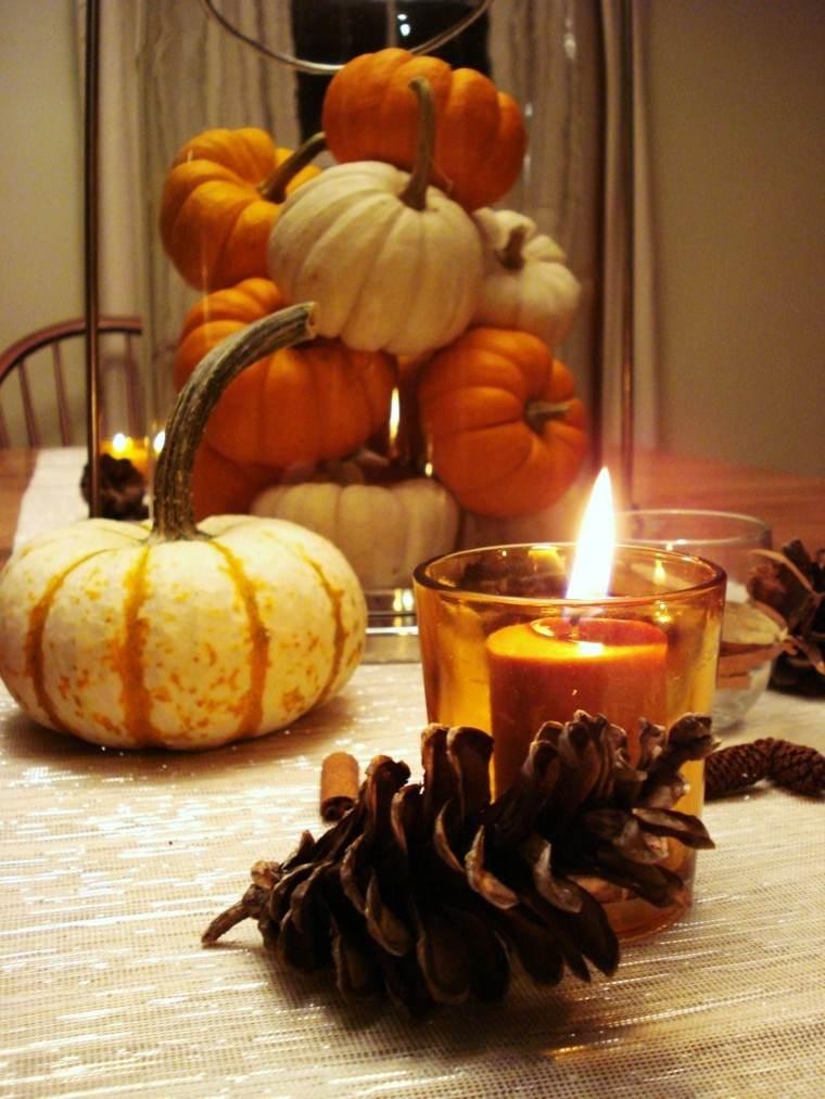 centros de mesa originales velas acogedor naranja