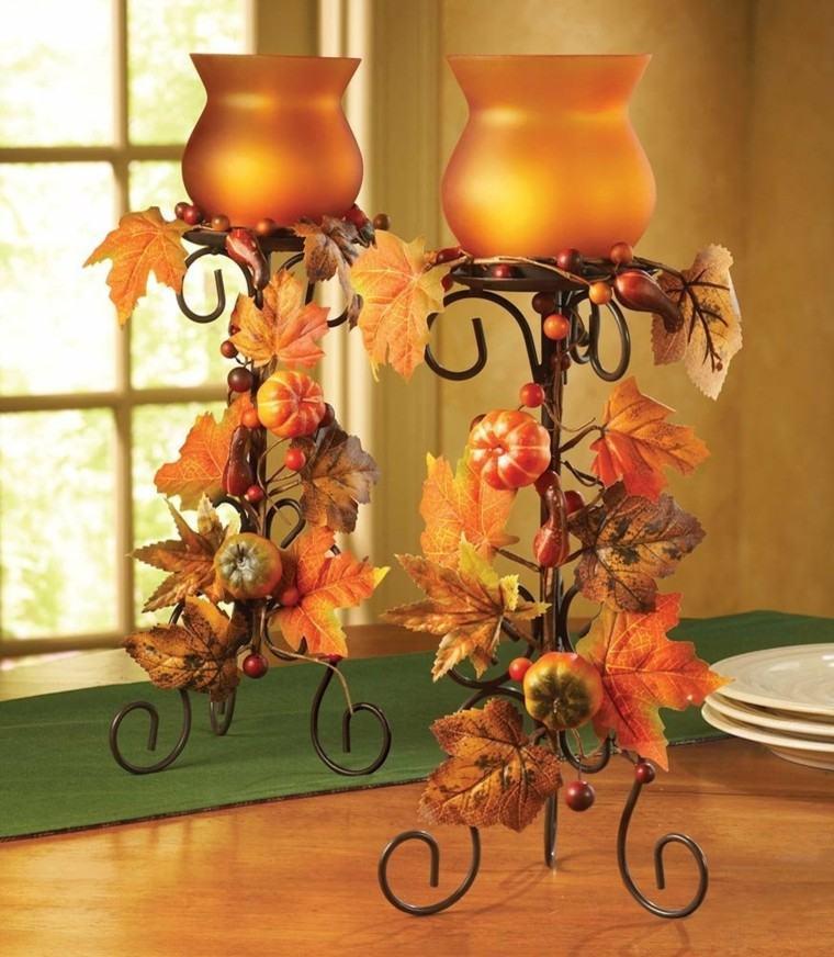 centros de mesa otoño decoracion forja velas