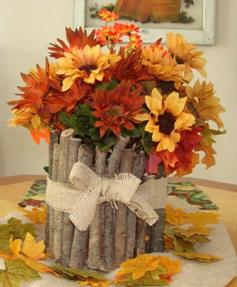 centros de mesa otoño decoracion madera ramas