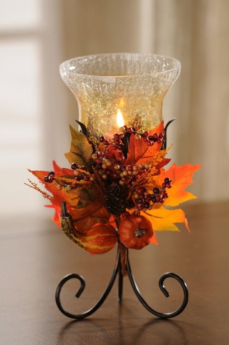 centros de mesa otoño decoracion minimalista velas