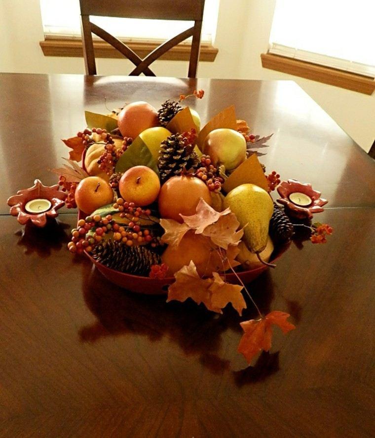centros de mesa otoño decoracion moderno manzanas