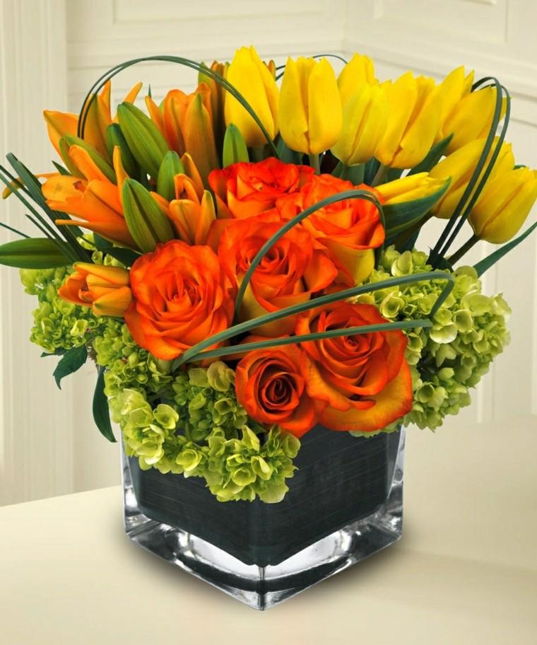 centros mesa flores color naranja