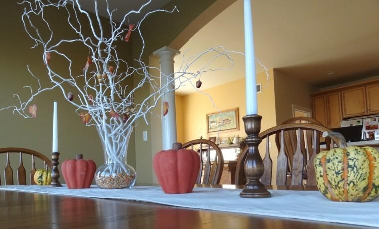 centros mesa originales ideas calabazas falsas ramas blancas otoño