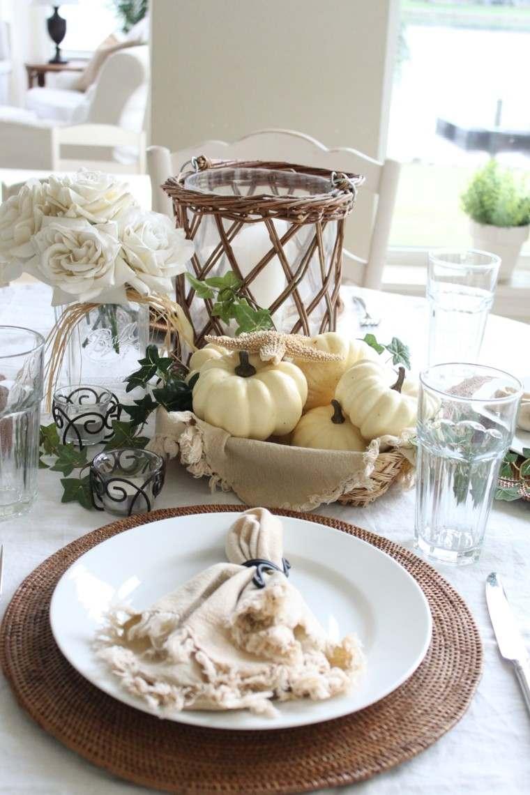 centros mesa originales ideas calabazas pequenas blancas otoño