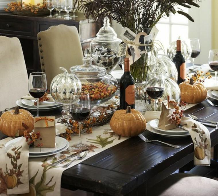 centros mesa originales ideas calabazas plata otoño