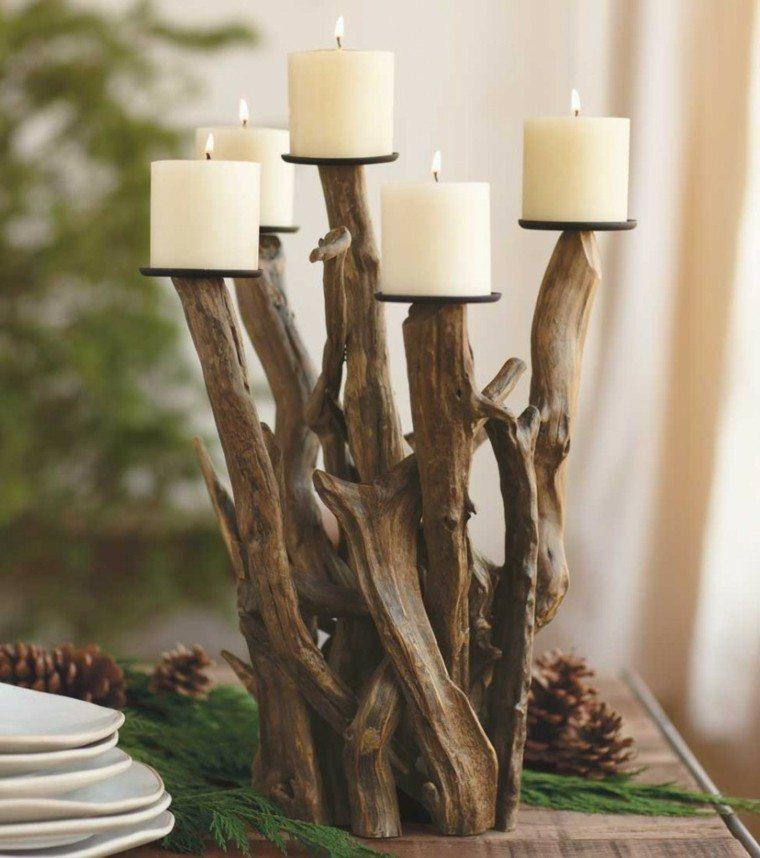 centros mesa originales ideas candelabro madera precioso otoño