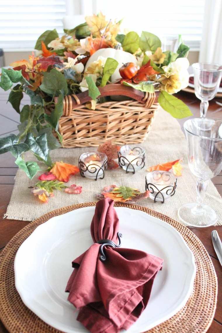 centros mesa originales ideas candelabros preciosos hojas otoño