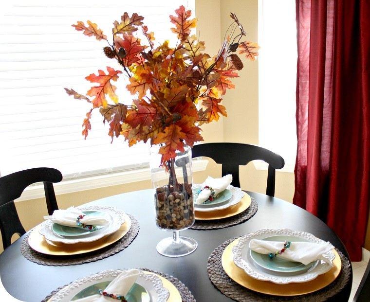 centros mesa originales ideas cristal hojas secas ideas