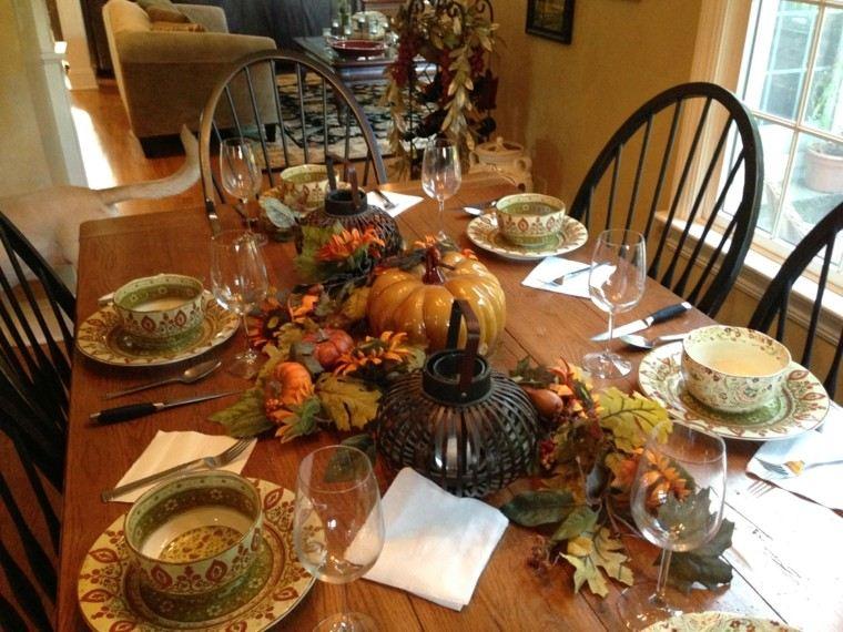 centros mesa originales ideas farola negra otoño