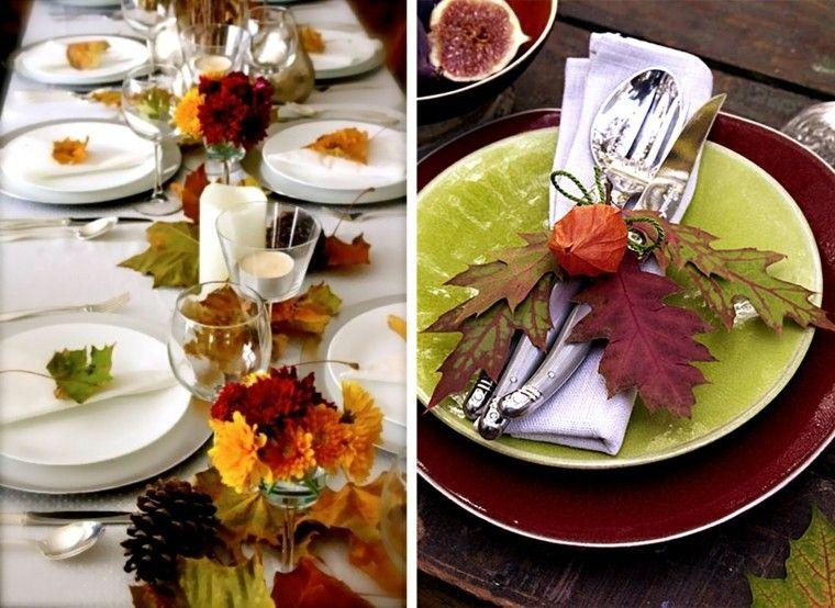 centros mesa originales ideas hojas flores otoño
