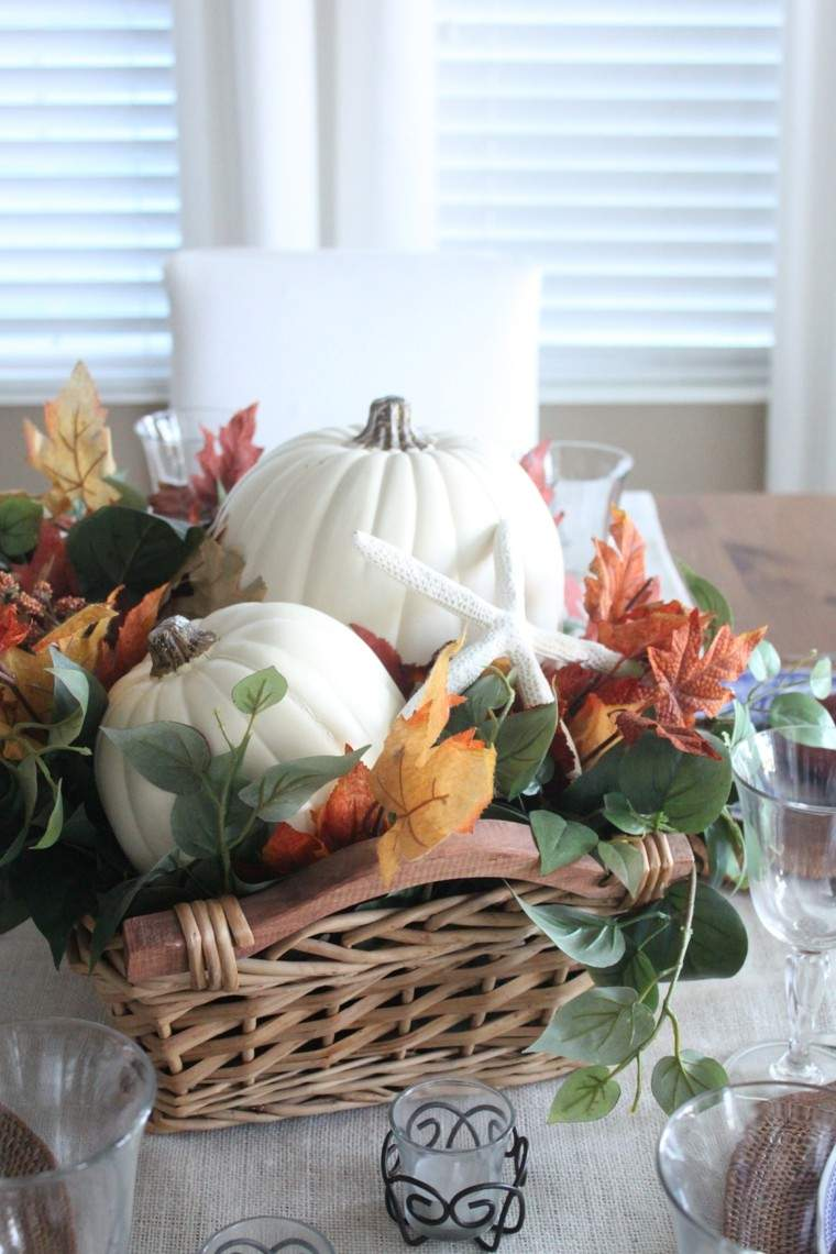 centros mesa originales ideas hojas secas estrella mar otoño