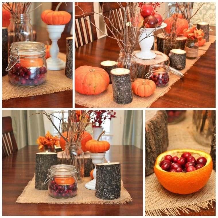 centros mesa originales ideas madera ramas manzanas otoño