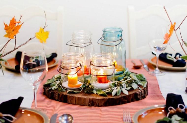 centros mesa originales ideas madera taros cristal velas otoño