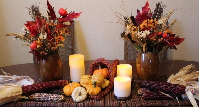 centros mesa originales ideas maiz velas calabazas otoño