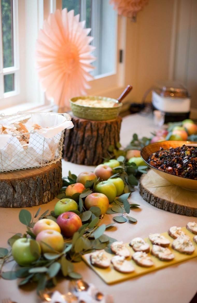 centros mesa originales ideas manzanas hojas madera otoño