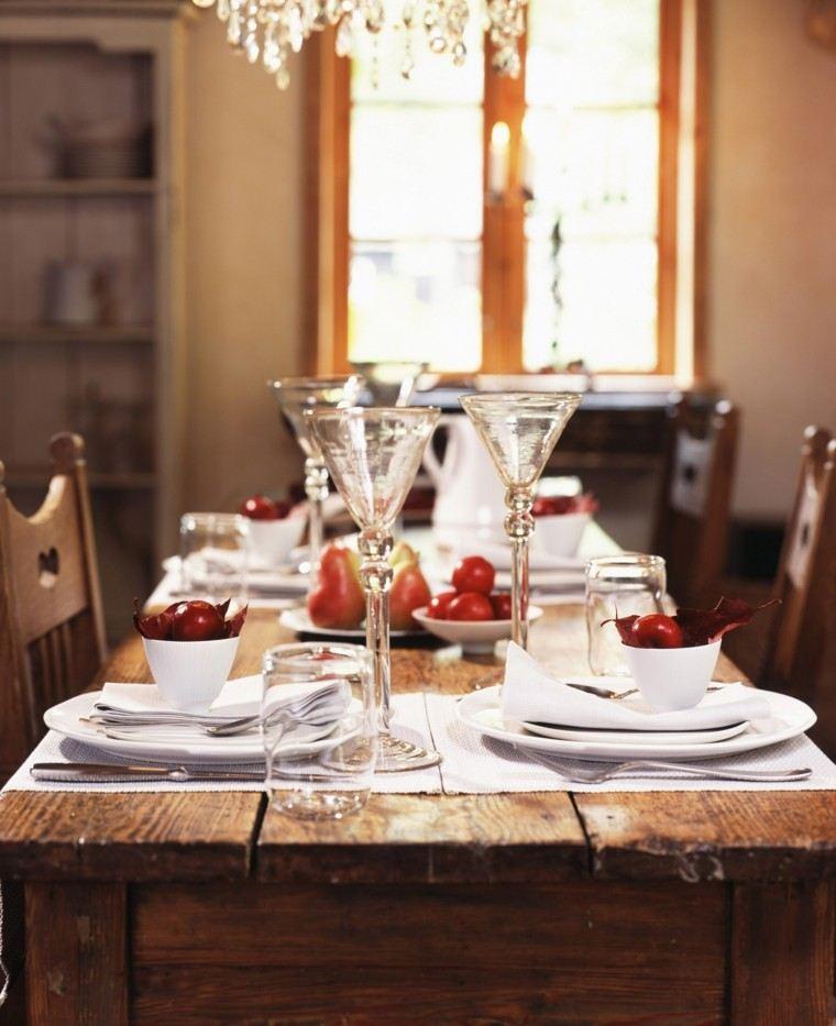 centros mesa originales ideas manzanas rojas otoño