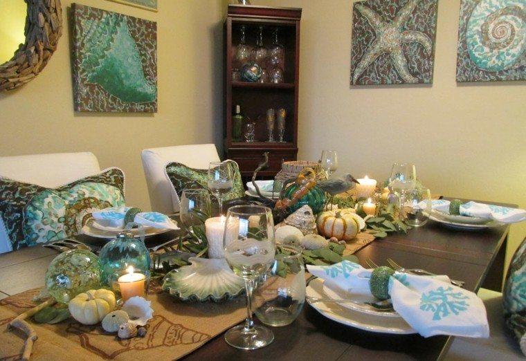centros mesa originales ideas mar calabazas velas otoño