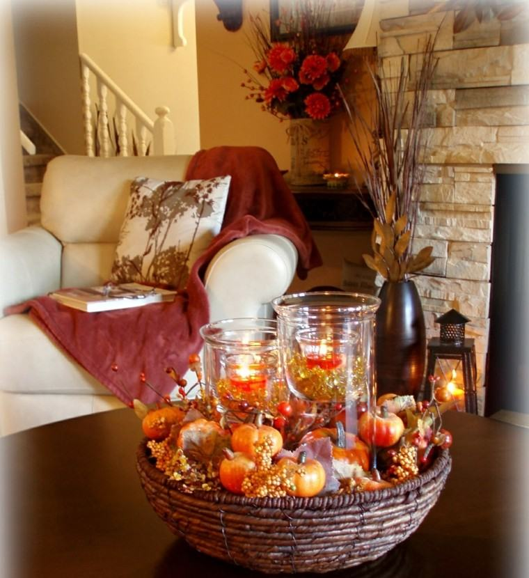 centros mesa originales ideas mesa cafe cesto otoño