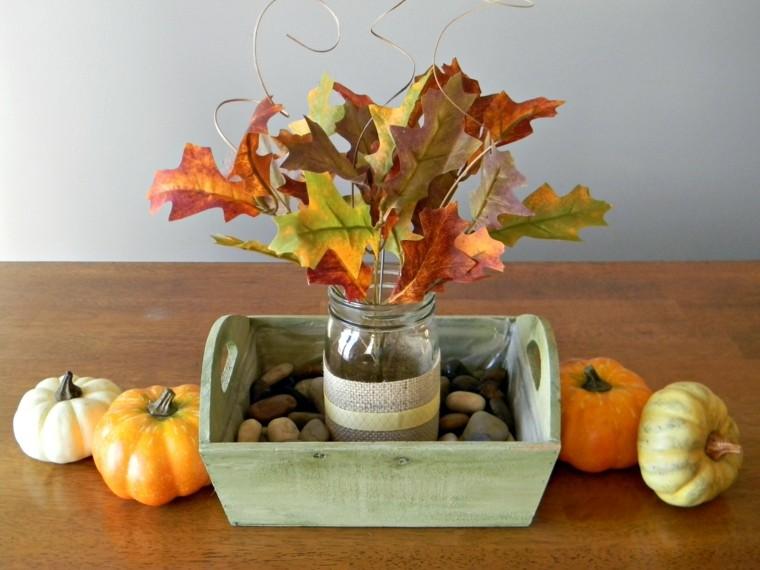 centros mesa originales ideas piedras taro ramas otoño