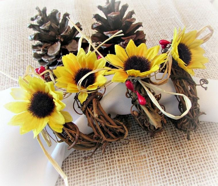 centros mesa originales ideas pinas flores falsas otoño