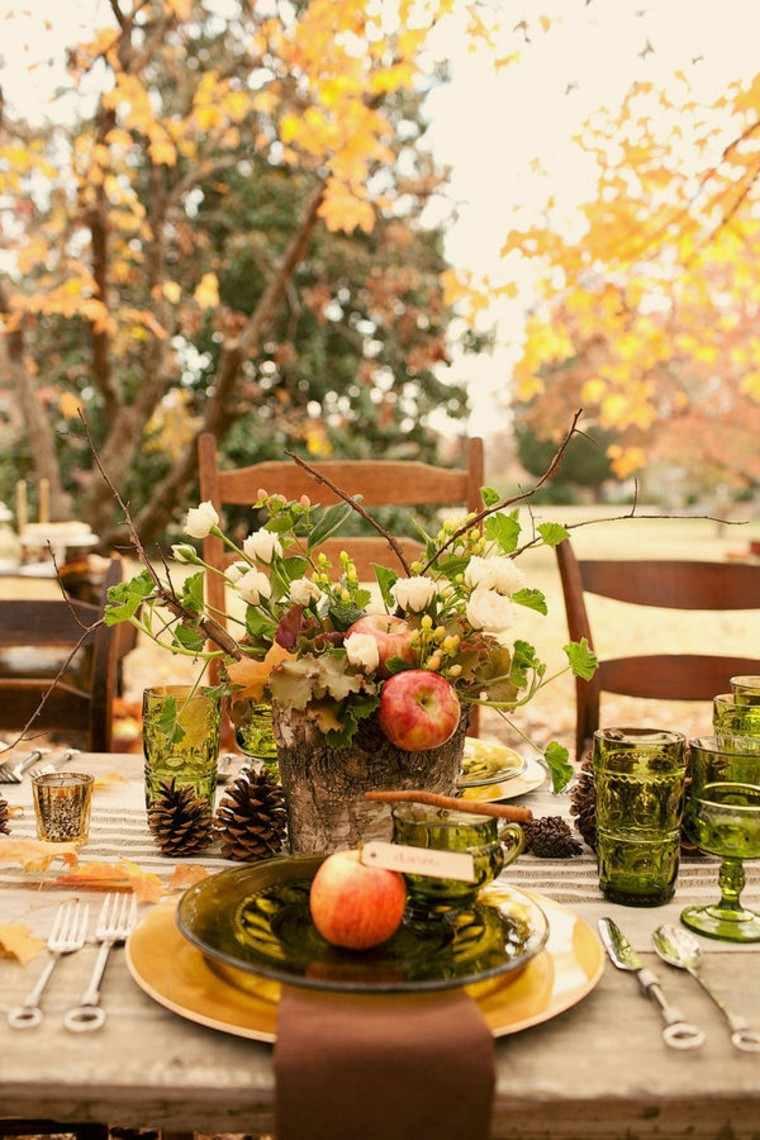 centros mesa originales ideas pinas madera otoño