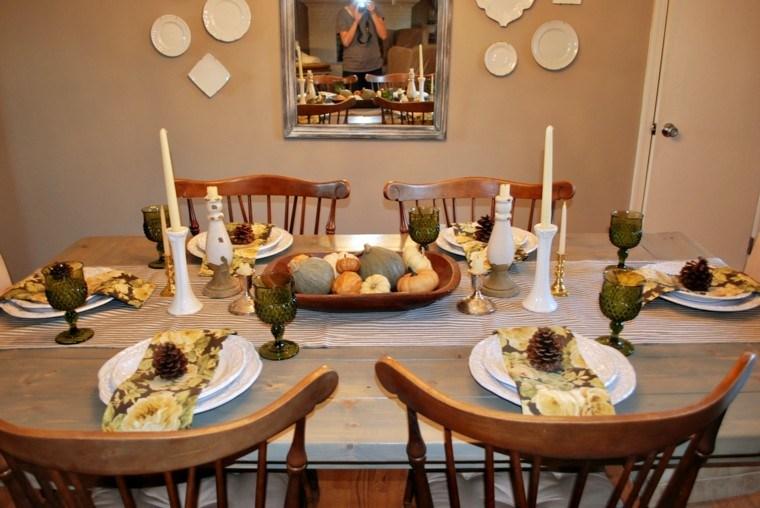 centros mesa originales ideas plato madera calabazas otoño