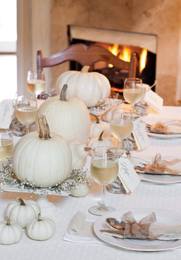 centros mesa originales ideas platos blancos calabazas otoño