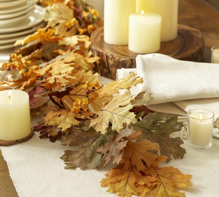 centros mesa originales ideas rama hojas velas otoño