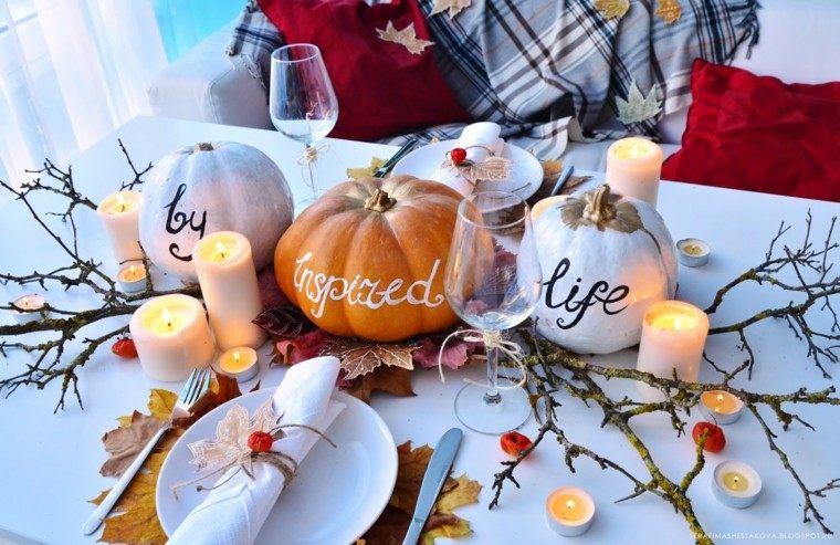 centros mesa originales ideas ramas calabazas blancas otoño