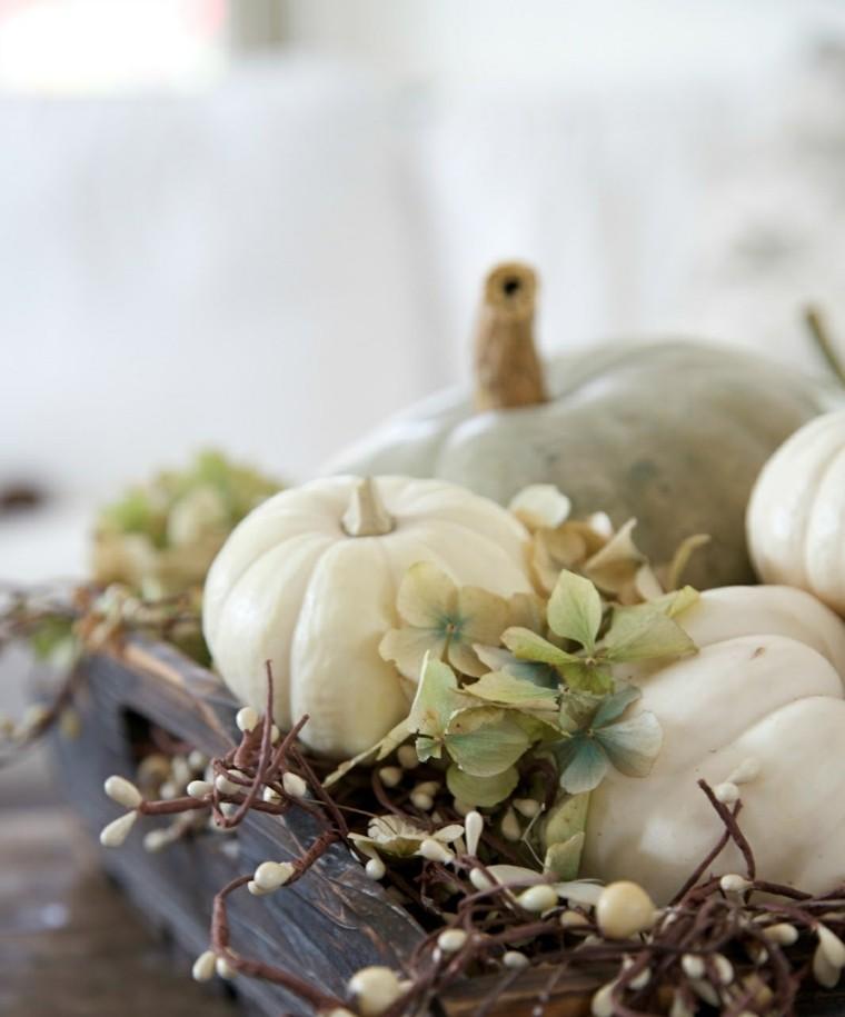 centros mesa originales ideas tabla madera calabazas otoño