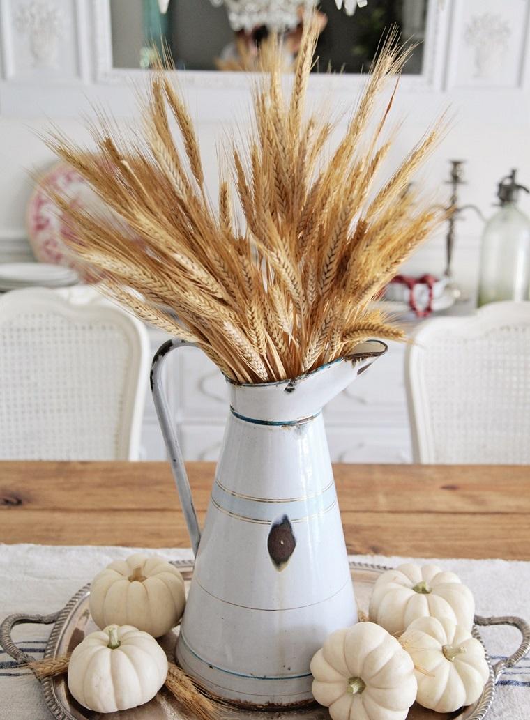 centros mesa originales ideas tabla plata trigo calabazas otoño