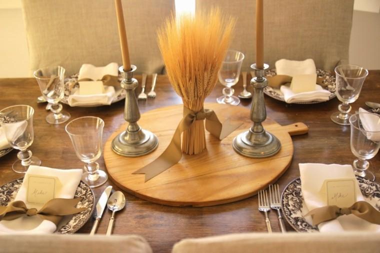 centros mesa originales ideas trigo candelabros plata otoo